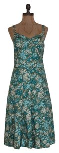 Ann Taylor Formal Floral Tea Length Pleated Dress