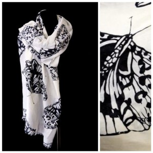 Other B18 Off White & Black Large Butterfly Raw Edge Scarf Shawl Wrap Boutique