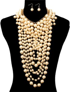 Other Multilayer Double Pearl Necklace and Earrings
