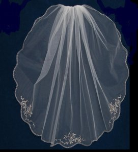 J.L. Johnson Bridals Rose Gold Embroidery Rum Pink Fingertip Wedding Veil