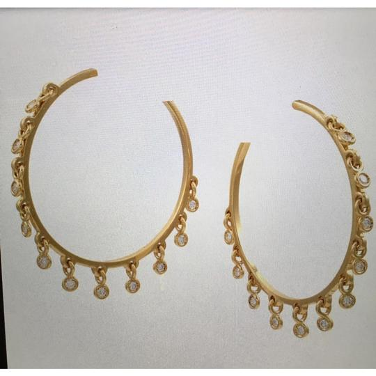 DIOR 18KT Yellow Gold Diamond Hoop Earrings! Dior Diamond Hoop Earrings