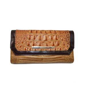 Brahmin Checkbook Wallet Toasted Almond Bengal Clutch