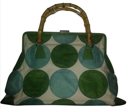 Preload https://img-static.tradesy.com/item/20811851/jlo-bamboo-top-handles-white-with-green-and-blue-suede-canvas-polka-dots-satchel-0-3-540-540.jpg