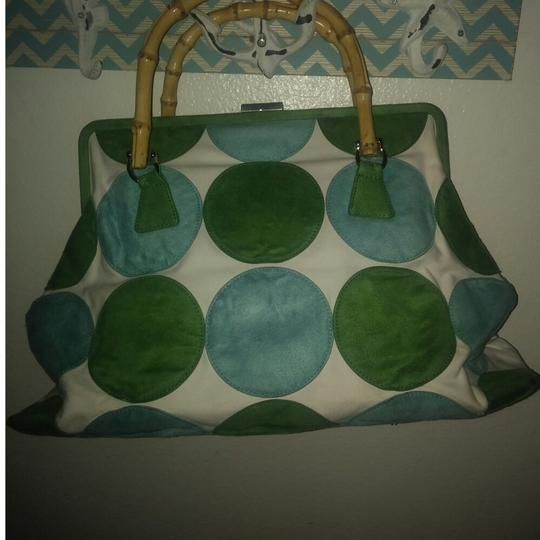 JLo Satchel in White with green and blue suede