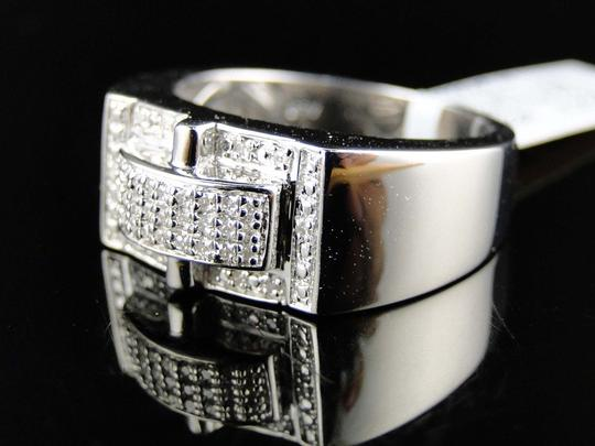 Other Mens White Gold Finish Genuine Wedding Diamond Pave Setting Pinky Ring