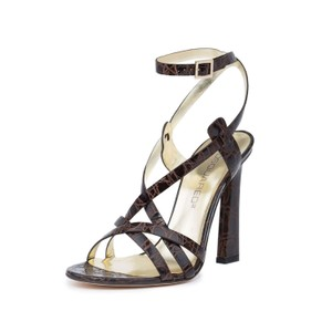Dsquared2 D2 Women Leather High Heel Crocodile Dark Brown Sandals