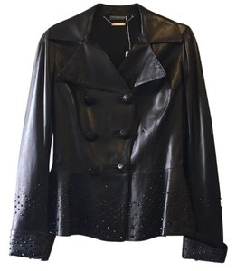 Alexander McQueen Black Leather Crystal Studded Leather Jacket