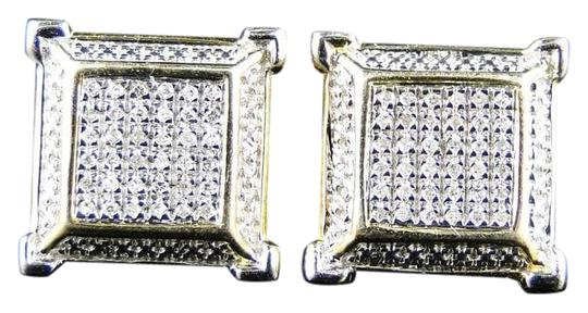 Preload https://img-static.tradesy.com/item/20811967/yellow-gold-finish-ladiesmen-3d-square-diamond-stud-earrings-0-1-540-540.jpg