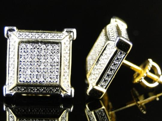Other LADIES/MEN YELLOW FINISH 3D SQUARE DIAMOND STUD EARRING