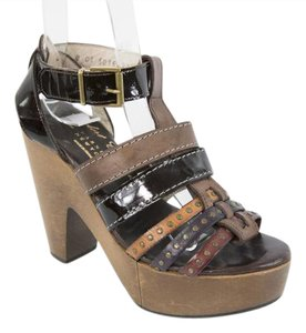 Robert Clergerie Wood Heel Brown and Black Sandals