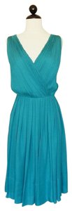 Talbots Silk Georgette Pleated Surplice Dress