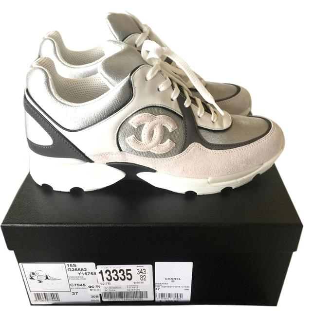 Item - White/Gray/Silver 2015 Cc Logo Suede Tennis Trainers 37 Sneakers Size US 7 Regular (M, B)