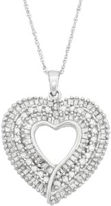 Other 1 Carat T.W. Diamond Sterling Silver Heart Pendant Necklace