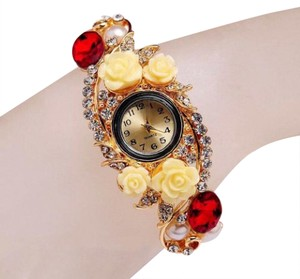 Other D14 Gold Yellow Red Crystal Acrylic Flower Hinged Fashion Watch Bangle Boutique