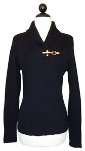 Ralph Lauren Shawl Neck Gold Hardware Ribbed Knit Sweater