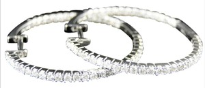 Other 14K Womens White Gold Diamond In And Out Hoops Earrings 1.25 Ct