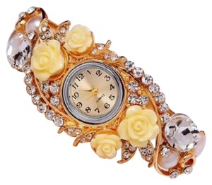 Other D14 Gold Yellow Crystal Acrylic Flower Hinged Fashion Watch Bangle Boutique