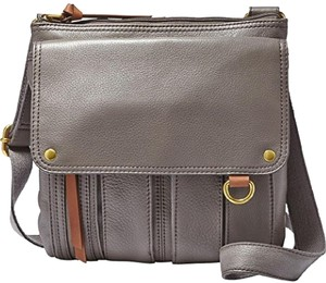 Fossil Leather Morgan Crossbody Gray Messenger Bag