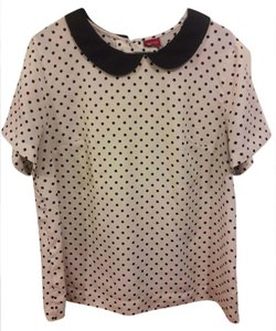 Merona Dot Polyester Peter Pan Top Ivory w / Black Polka Dots