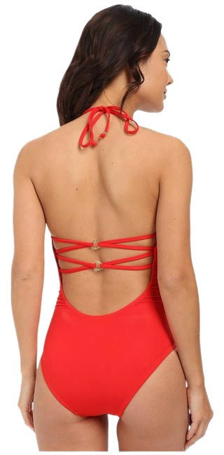 Item - Red Solid Lattice Back Swimsuit One-piece Bathing Suit Size 4 (S)