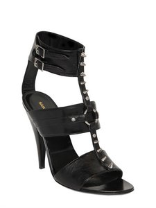 Saint Laurent High Heel Leather Spyke Runway Black Sandals