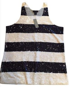 J.Crew Date Night Sequin Tank Top Navy and Off White