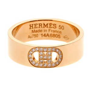 Hermès Hermes H d'Ancre Diamond Rose Gold Ring