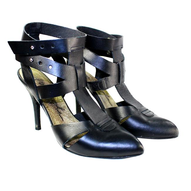 Item - Black Pre-owned Sexy Leather Ankle Wrap Heels Pumps Size US 9