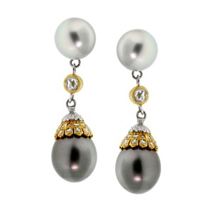 BUCCELLATI Buccellati Pearl Diamond Drop Earrings