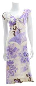 Just Cavalli short dress White/Purple Floral Summer Spring on Tradesy