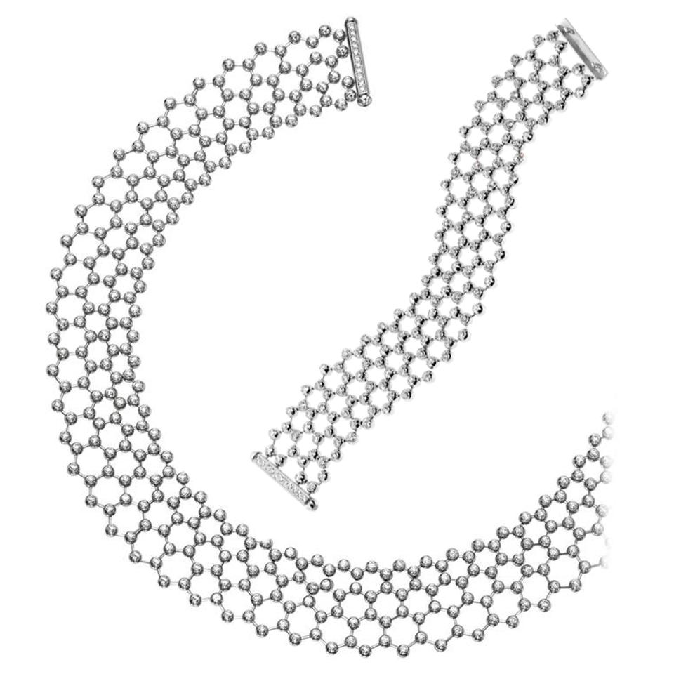 Cartier Diamond Tennis Necklace Bracelet Suite