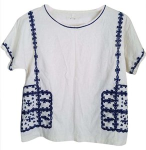 Madewell T Shirt white with blue embroidery