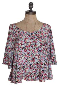 BCBGeneration Back Slit Cropped Crop Cap Sleeve Oversized Top MULTI