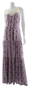 Purple/Cream Maxi Dress by Tory Burch Floral Maxi Silk Summer Spring