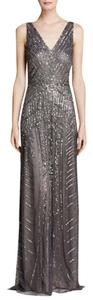 Adrianna Papell Art Deco A-line V-neck Gown Dress