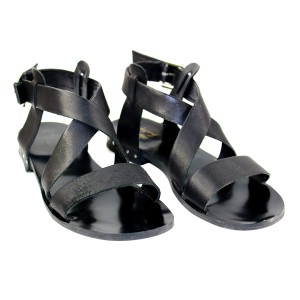Farylrobin Leather Ankle Wrap Pre-owned Black Sandals