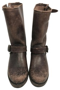 Frye Combat Leather Leather Distressed brown Boots