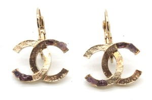 Chanel #10677 CC hammered gold with Amethyst stones earrings