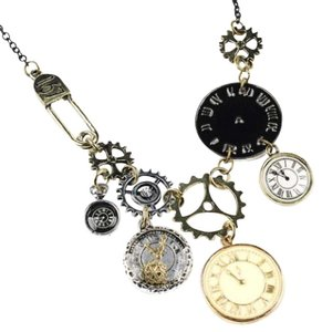 Other DF19 Art Deco Black Gold Silver Metal Gear & Clock Statement Necklace