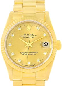 Rolex Rolex President Datejust Midsize 18K Yellow Gold Diamond Watch 68278