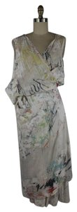 White Multi Maxi Dress by Alexander Wang Silk Splatter Paint Asymmetric Wrap