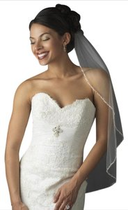 Elegance By Carbonneau Ivory Beaded Edge Elbow Length Bridal Veil