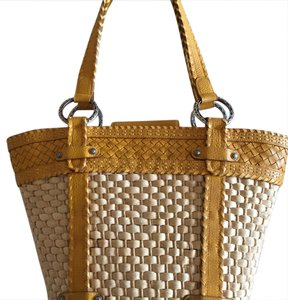 Brighton Tote in yellow leather trim