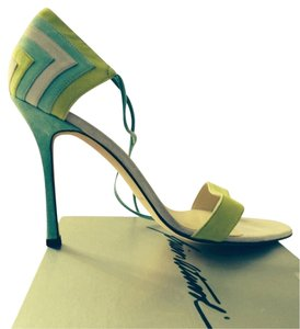 Brian Atwood Stiletto Suede Chevron Italy Color-blocking Green/Blue/Lavender Sandals