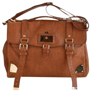 Mulberry Leather Oversized Satchel in Brown