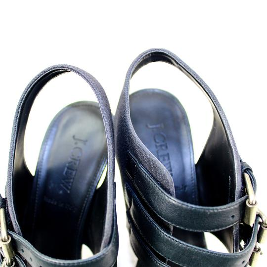 J.Crew Heel Leather Canvas Pre-owned Black Pumps