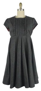 Unique Vintage short dress Grey Ruffle Swing Circle Skirt Wool on Tradesy