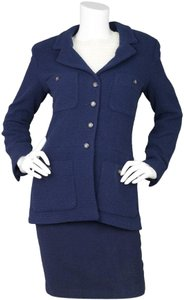 Chanel Boucle Jacket Button Down Navy Blazer