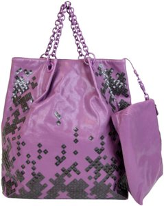 Bottega Veneta Leather Mosaico Sequin Laque Tote in Purple