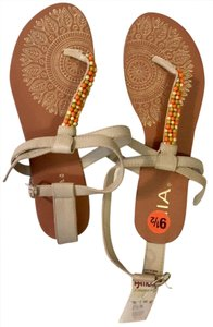 MIA Gold Straps Brown and Beige Sandals
